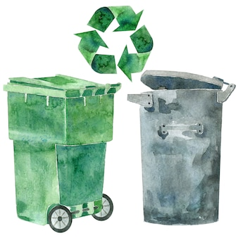 Lixeira de plástico e lata de lixo de metal