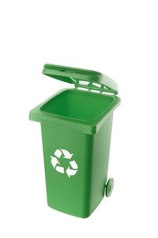 Lixeira de plástico verde isolada no fundo branco
