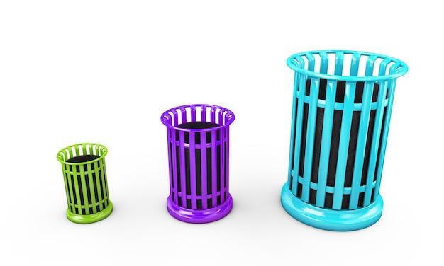 Lixeiras coloridas isoladas em fundo branco renderização 3d