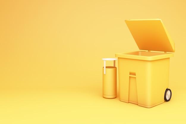 Lixo amarelo pode abrir a tampa renderização em 3d
