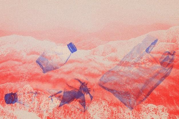 Lixo e mar com dupla exposição com mídia remixada de efeito risógrafo