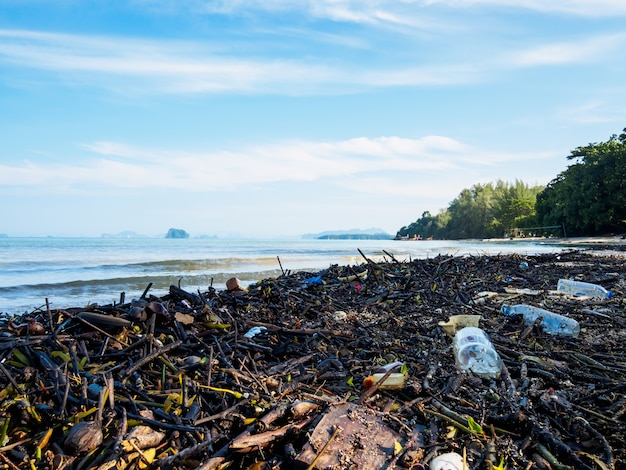 Lixo em uma praia, poluição ambiental do conceito do mar.