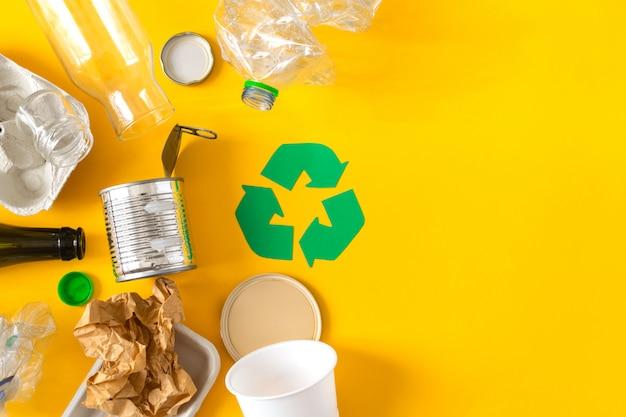 Lixo preparado para reciclagem