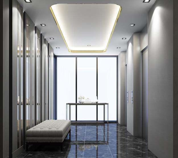Lobby com elevador e design moderno com piso de mármore e banquinho com renderização em 3d