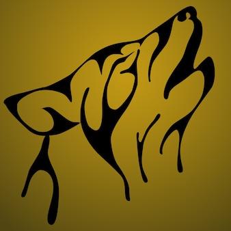 Lobo uivante isolado no fundo. ilustração vetorial