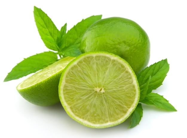 Lóbulos de limão com um galho de hortelã em um fundo branco