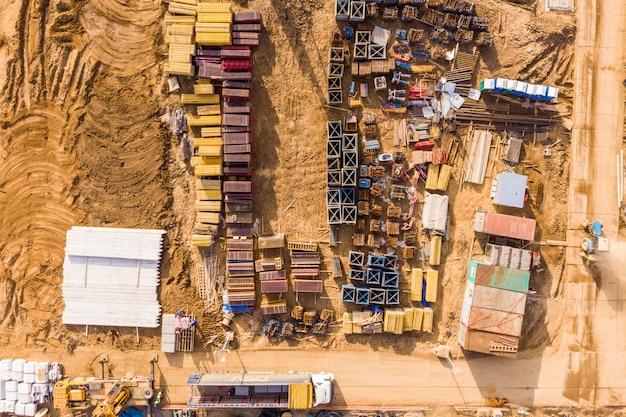 Local da construção, vista de alto ângulo