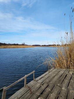 Local de pesca tranquilo à beira do rio. vista do rio da margem.