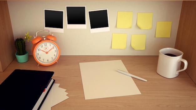 Local de trabalho com relógio de mesa, caneca de café, artigos de papelaria em branco, cacto, agenda, lápis e adesivos vazios na mesa de madeira