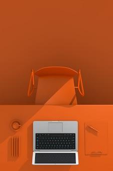 Local de trabalho do escritório. mesa com material de escritório, laptop e xícara de café na cor laranja