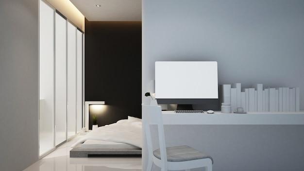 Local de trabalho e quarto de hotel ou apartamento, interior