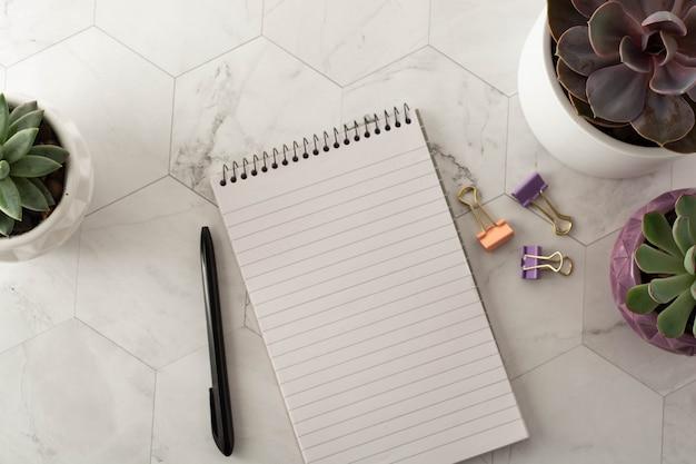 Local de trabalho estilo plana leigos. caderno, caneta e suculenta na mesa de mármore.