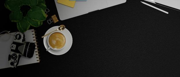 Local de trabalho moderno com câmera, xícara de café, planta, laptop, fundo de couro preto, renderização em 3d