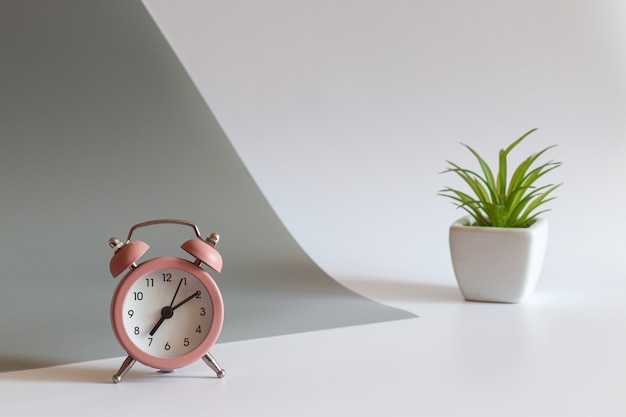 Local de trabalho moderno com despertador e planta espaço de cópia com foco seletivo conceito matinal