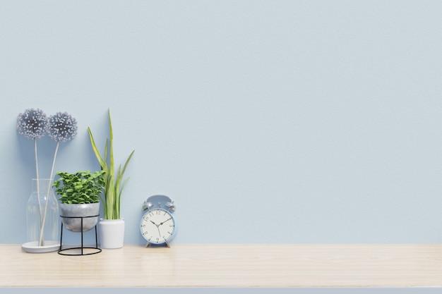 Local de trabalho moderno com mesa criativa com plantas tem parede azul, renderização em 3d