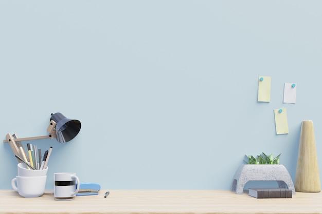 Local de trabalho moderno com mesa criativa com plantas tem parede azul