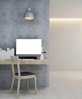 Local de trabalho no hotel ou apartamento - design de interiores - renderização em 3d
