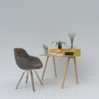 Local de trabalho que tem flanela cadeira, renderização em 3d