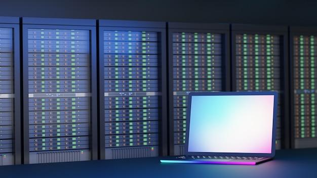 Local do computador portátil com plano de fundo do servidor de hospedagem. imagem de ilustração de renderização 3d.