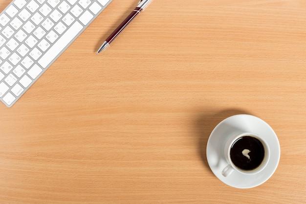 Local trabalho, em, madeira, desktop, fundo, com, café