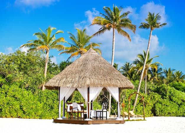 Local tropical romântico da cerimônia de casamento. lindo céu azul e palmeiras. ilha do paraíso
