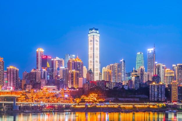 Localização famosa distrito skyline crepúsculo destino