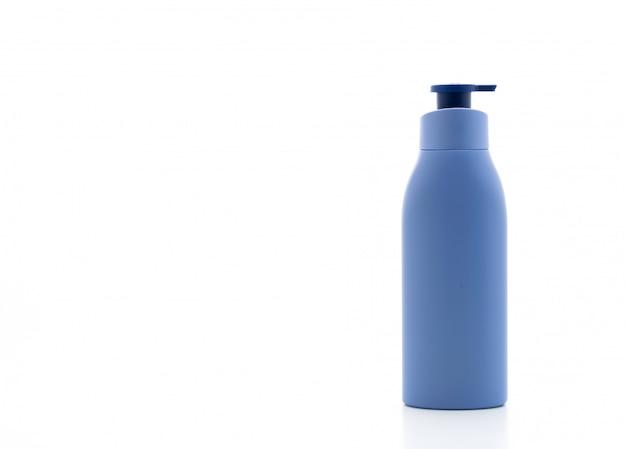 Loção, creme ou frasco de gel de banho no fundo branco