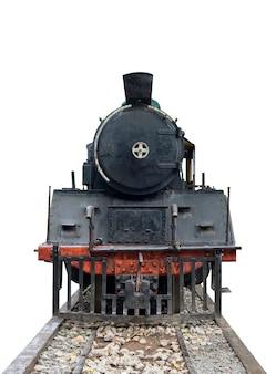 Locomotiva a vapor da frente do trem vintage na ferrovia