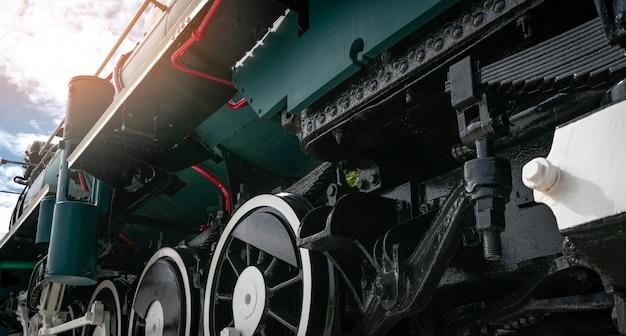 Locomotiva antiga do trem do vintage do close up. locomotiva a motor a vapor velha.