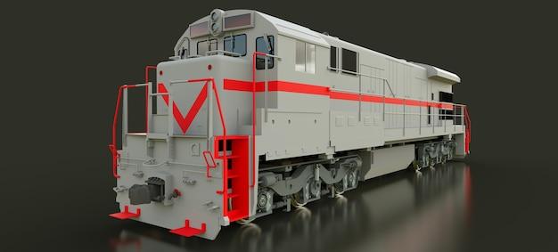 Locomotiva ferroviária a diesel cinza moderna com grande potência e resistência para se mover por longos períodos