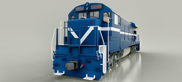 Locomotiva ferroviária a diesel moderna, azul, com grande potência e resistência para se mover por longos períodos