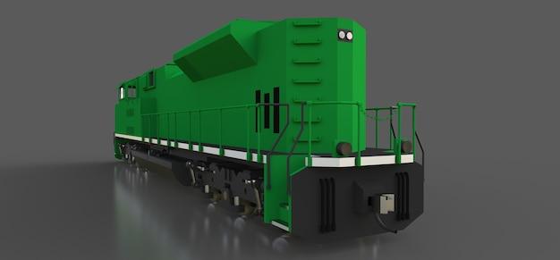 Locomotiva ferroviária a diesel moderna e verde com grande potência