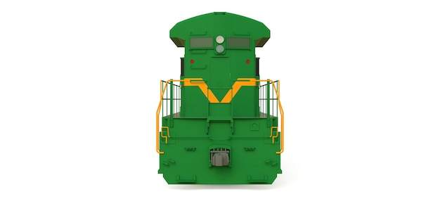 Locomotiva ferroviária moderna a diesel verde com grande potência e resistência para mover trens ferroviários longos e pesados