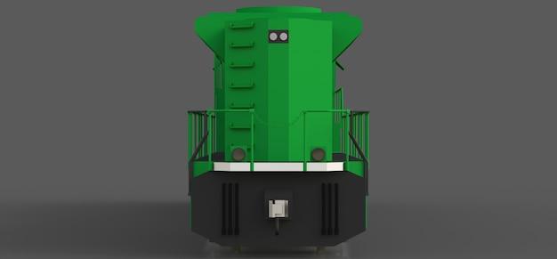 Locomotiva ferroviária moderna a diesel verde com grande potência e resistência para se mover por longos períodos