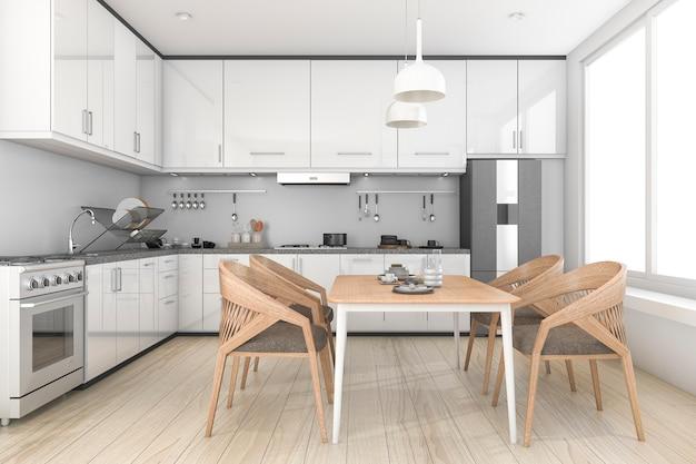 Loft branco de renderização 3d e cozinha e sala de jantar limpas