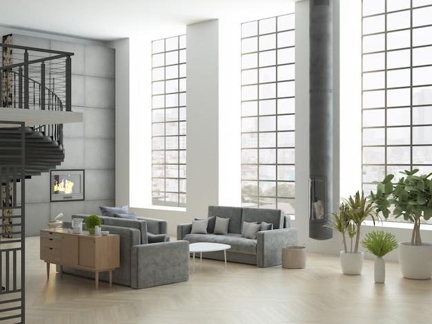 Loft com teto alto e grandes janelas verticais