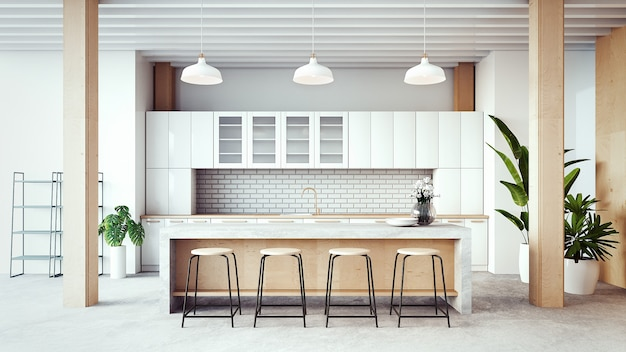 Loft cozinha sala interior / renderização em 3d