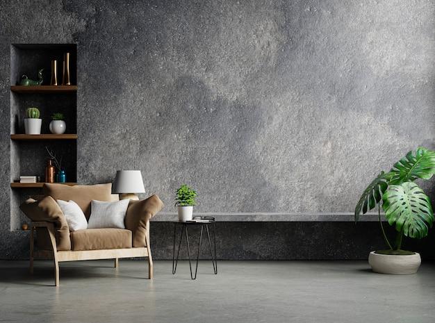 Loft de estilo interior de sala de estar em parede de concreto vazia, renderização em 3d