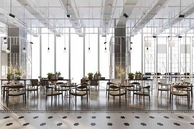 Loft e recepção de hotel de luxo e café-restaurante