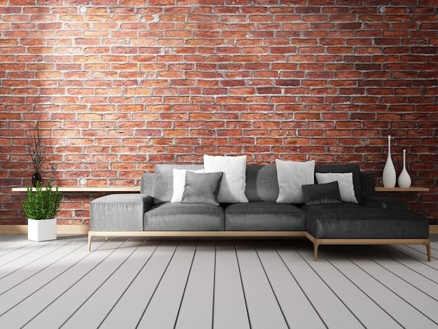 Loft interior mock up com sofá e decoração no piso branco