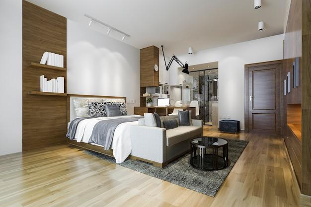 Loft luxuoso quarto com mesa de trabalho e guarda-roupa