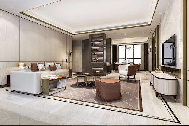 Loft luxuoso sala de estar com estante perto da mesa de jantar