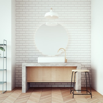 Loft & modern bacia banheiro / 3d render interior