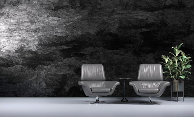 Loft moderno, belo design de interiores de sala de estar e parede preta