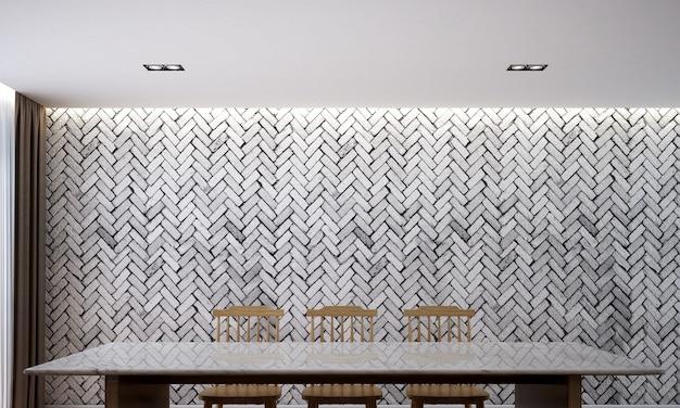 Loft moderno, belo design de interiores de sala de jantar e fundo de textura de parede de tijolo