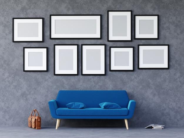 Loft moderno concreto sala com sofá e móveis e grupo de moldura na parede. 3d rendem.