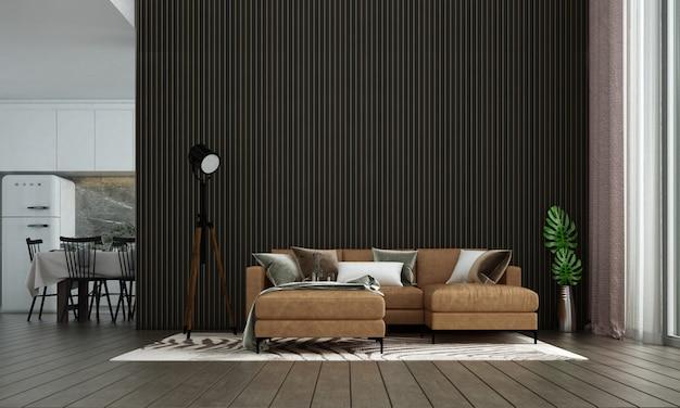 Loft moderno sala de estar e sala de jantar design de interiores