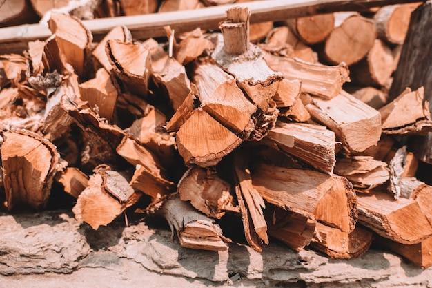 Log de corte de árvore de lenha para fogo ou queimar