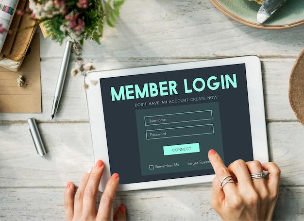 Login de membro membro nome de usuário senha conceito