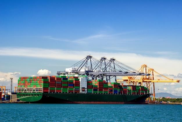 Logística de exportação de importação e transporte indústria fundo